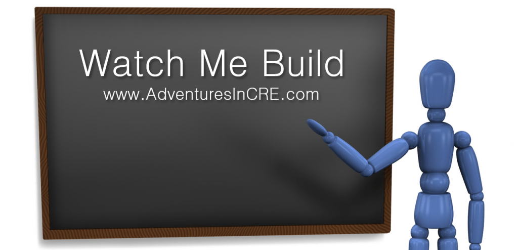 a robot points to a chalk board with the words, Watch Me Build and www.adventuresincre.com