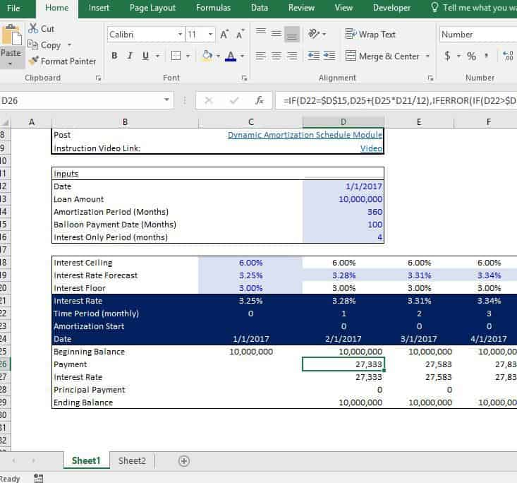 Dynamic Amortization Schedule Adventures In Cre