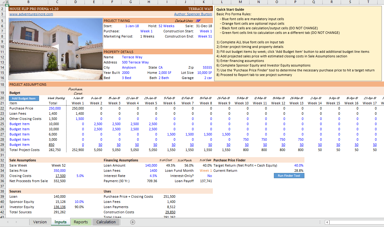 Excel Pro Forma For Flipping Houses Adventures In Cre