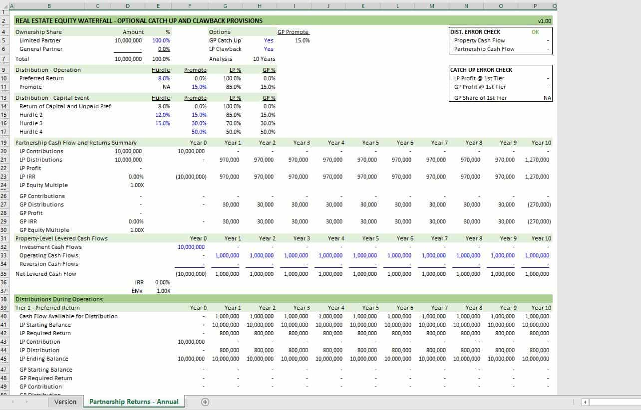 Real Estate Equity Waterfall Model With Catch Up And